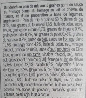 sandwich chèvre légumes grillés - Ingredients - fr