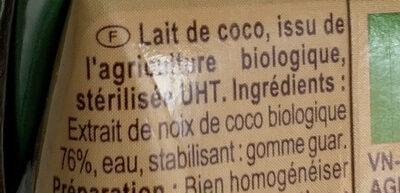 Lait de coco - Ingredienti - fr