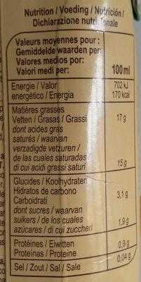 Lait de coco - Valori nutrizionali - fr
