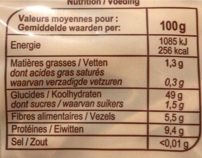 Tagliatelle au blé complet - Informations nutritionnelles - fr