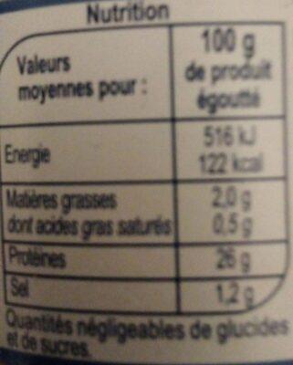 Thon entier albacore au naturel - Informations nutritionnelles - fr