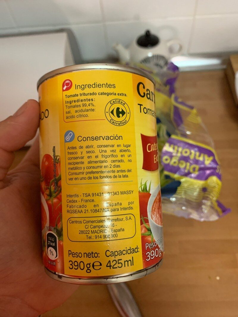 Tomate triturado - Ingredientes - es