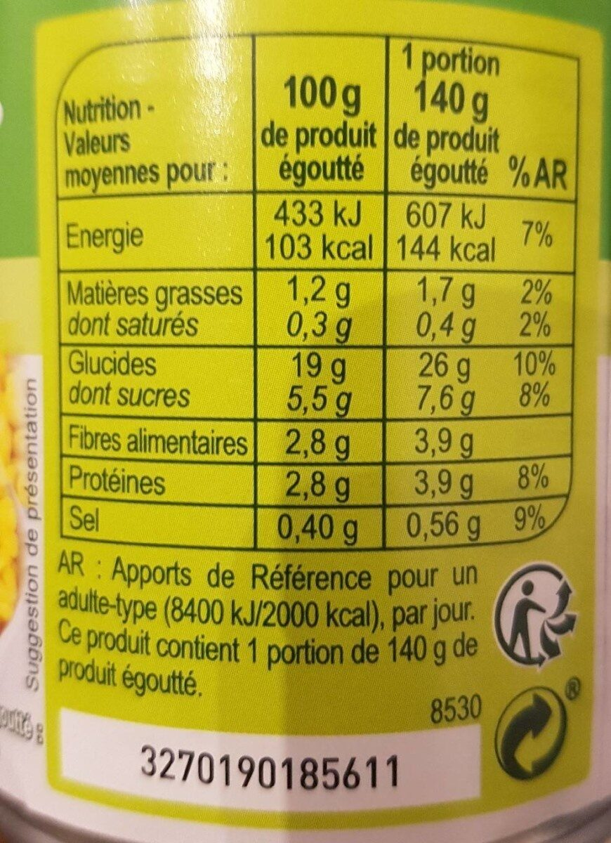 Maïs doux 3 x 1/4 - Informations nutritionnelles - en