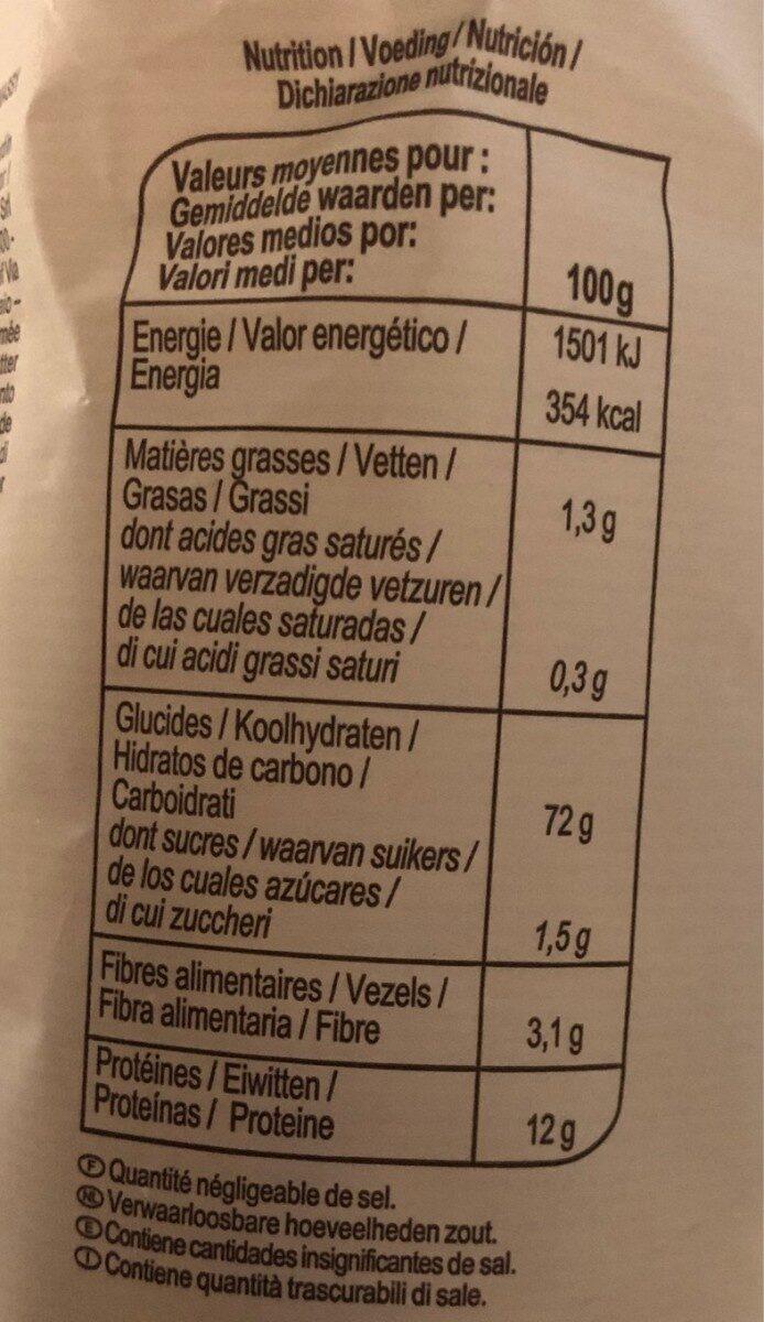 Tortiglioni - Informations nutritionnelles - fr