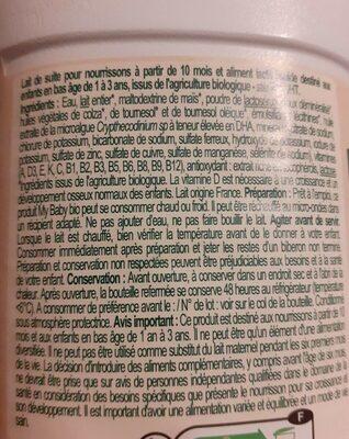 Lait de croissance bio - Informations nutritionnelles - fr