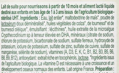 Lait baby bio - Ingredienti - fr