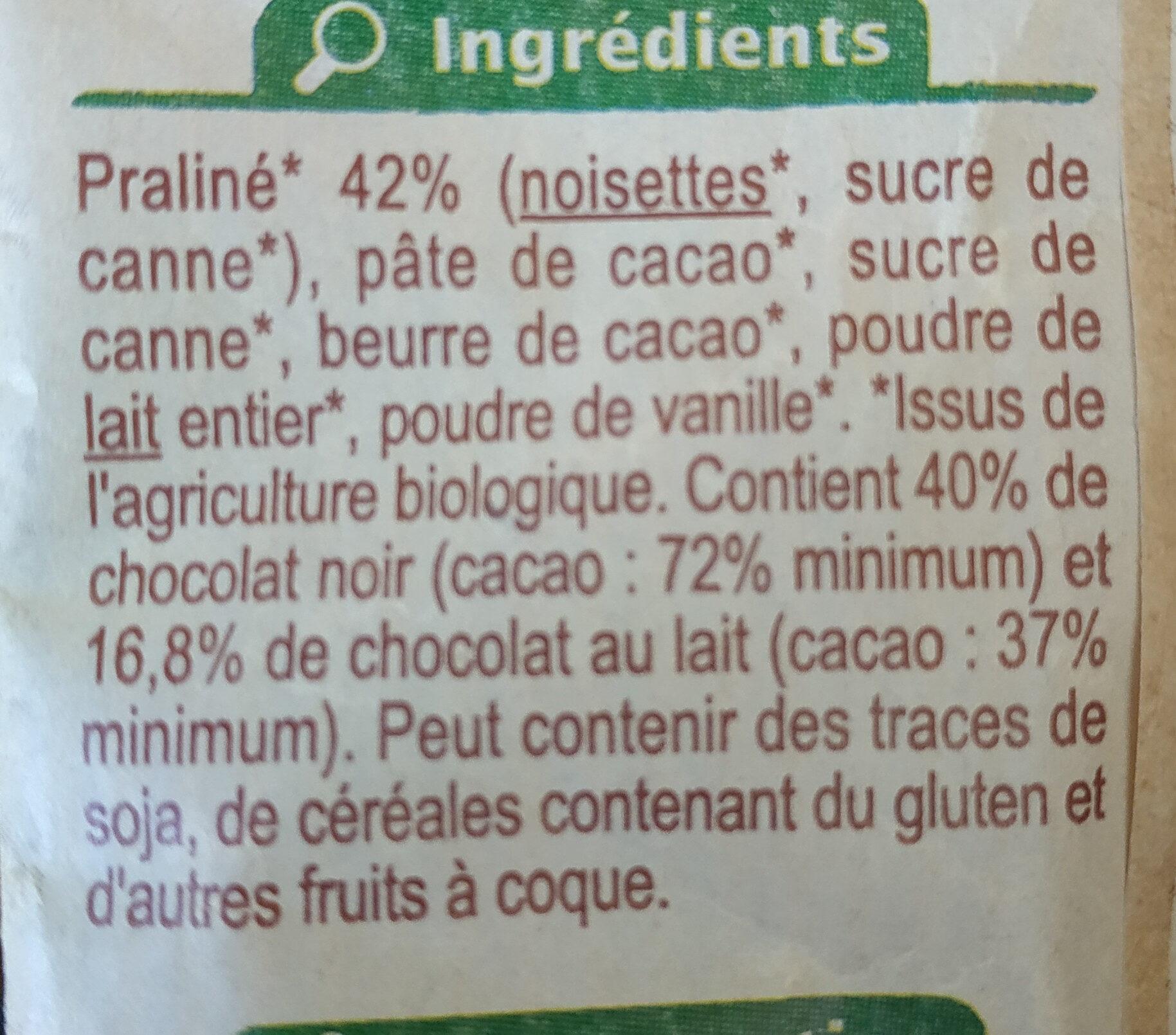 Oeufs au praliné chocolat noir 72% cacao - Ingredienti - fr