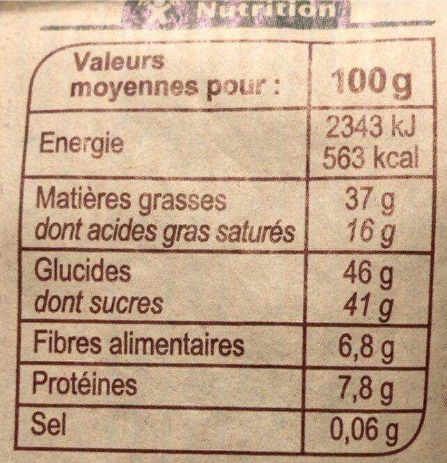 Oeufs au praliné chocolat noir 72% cacao - Valori nutrizionali - fr