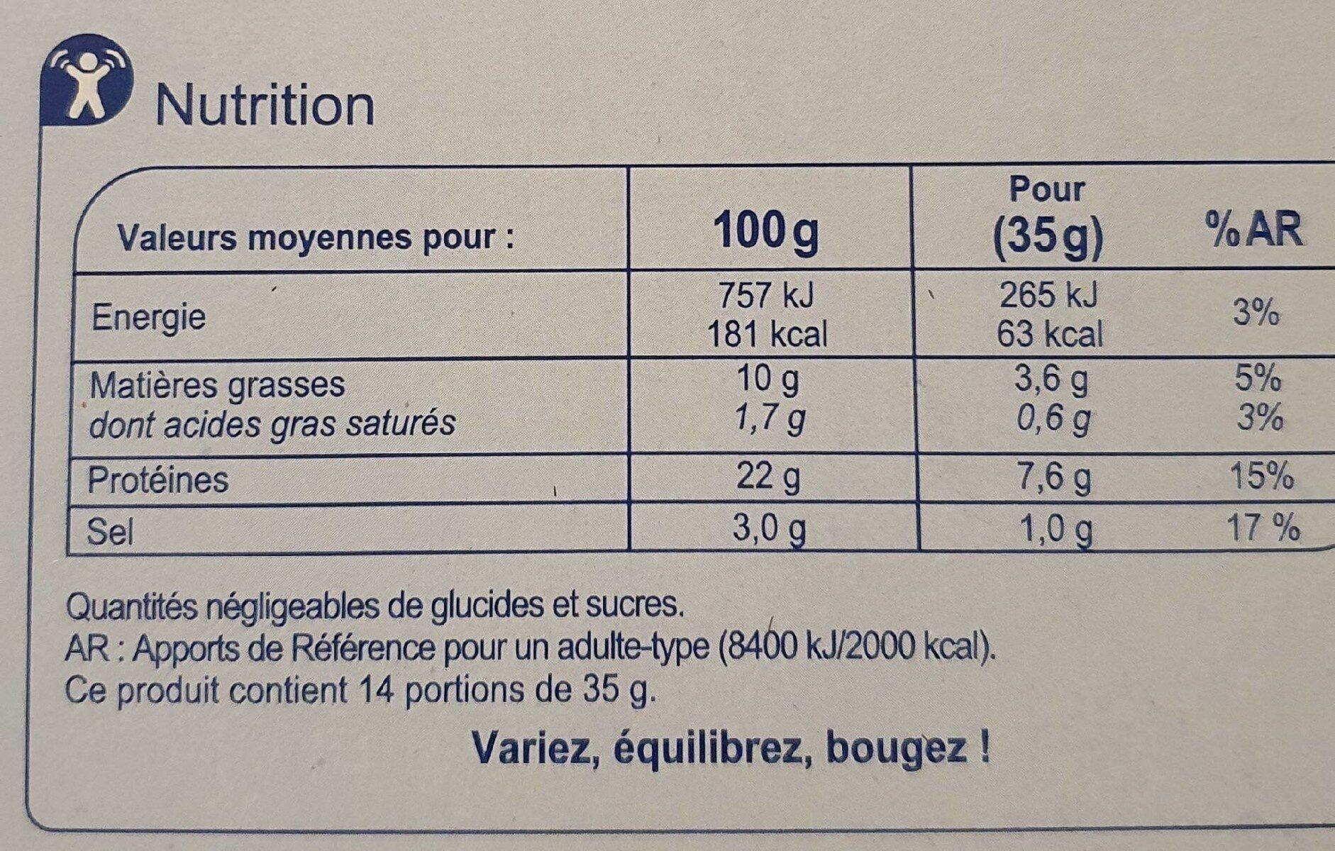 Saumon fumé Norvège - Valori nutrizionali - fr