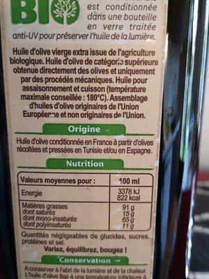 Huile d'olive vierge extra Bio - Ingrediënten