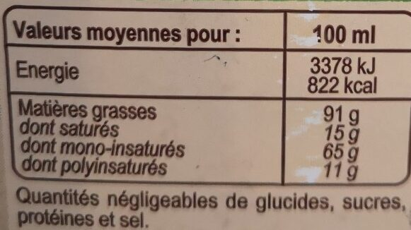 Huile d'olive vierge extra Bio - Voedigswaarden