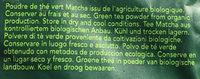 Poudre de Thé Vert Matcha - Ingredients