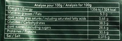 Poudre de Thé Vert Matcha - Nutrition facts