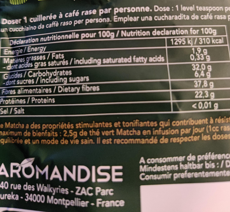 Poudre de Thé Vert Matcha - Nutrition facts - fr