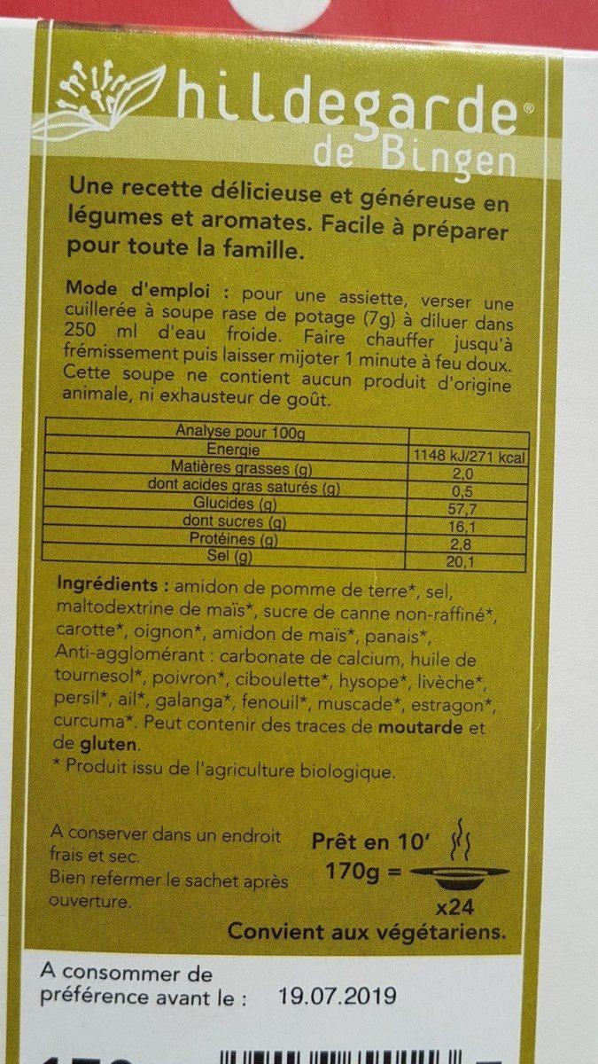 Potage Végétarien - Ingrédients - fr