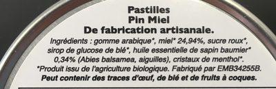 Pastilles Pin Miel - Ingredients - fr