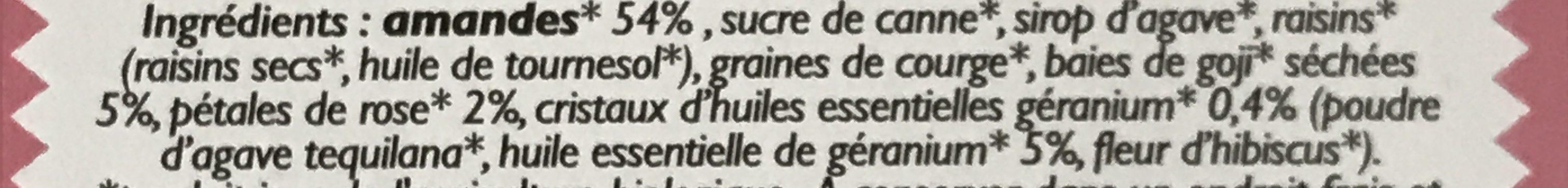 Barres aux amandes, baies de goji, pétales de rose et huile essentielle de géranium - Ingrédients - fr