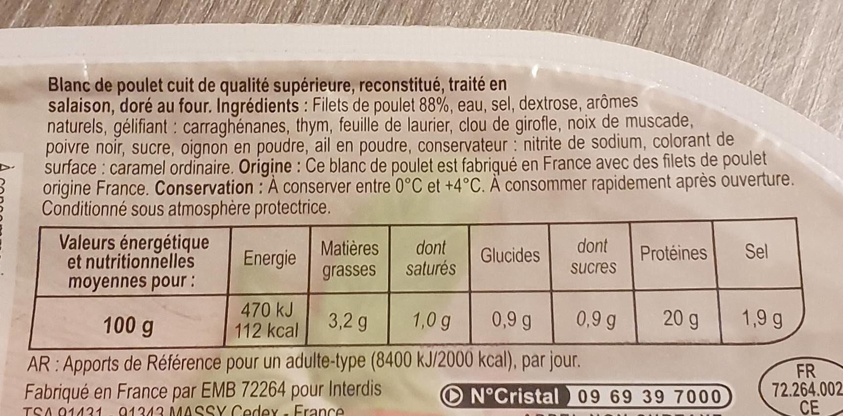 Blanc de poulet doré au four - Valori nutrizionali - fr