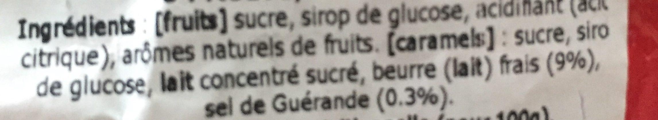 Les niniches 6 fruits, 6 caramels - Ingrediënten - fr