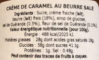 Crème De Caramel Au Beurre Salé 150 - Ingredients
