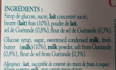 Caramels bretons au beurre salé - Ingrédients