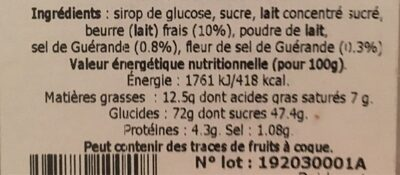 caramel - Nutrition facts