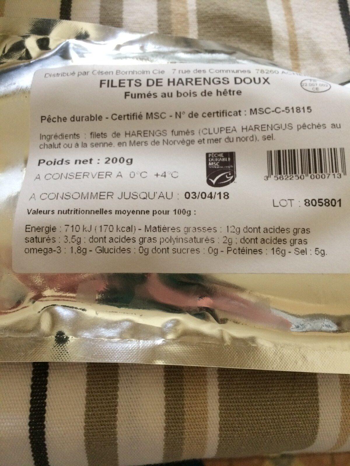 Filets de Harengs Doux - Ingrédients - fr