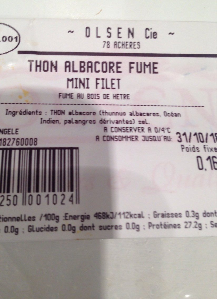 Thon albacore fumé - Ingredienti - fr