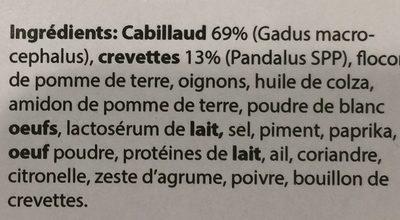 Fricadelles de Cabillaud et Crevettes - Ingrédients