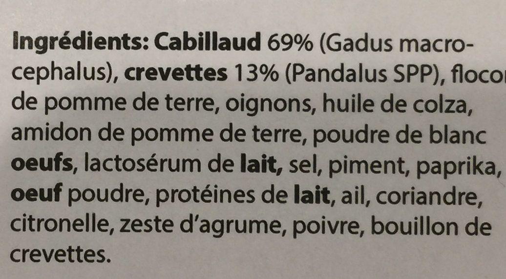 Fricadelles de Cabillaud et Crevettes - Ingrédients - fr
