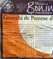 Gnocchi de pomme de terre BONINI - Nutrition facts