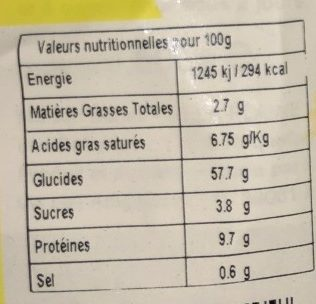 Tagliatelle aux œufs frais - Voedingswaarden