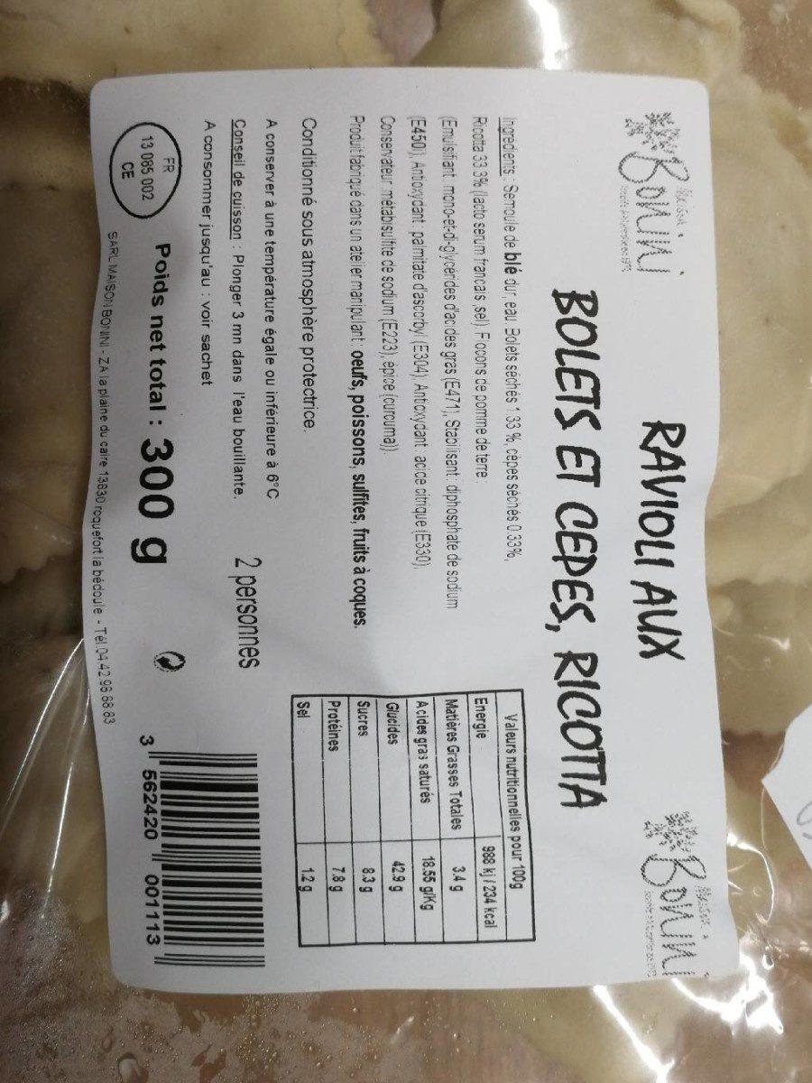 Ravioli aux bolets et cèpes, ricotta - Produit - fr
