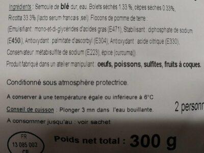 Ravioli aux bolets et cèpes, ricotta - Ingrédients - fr
