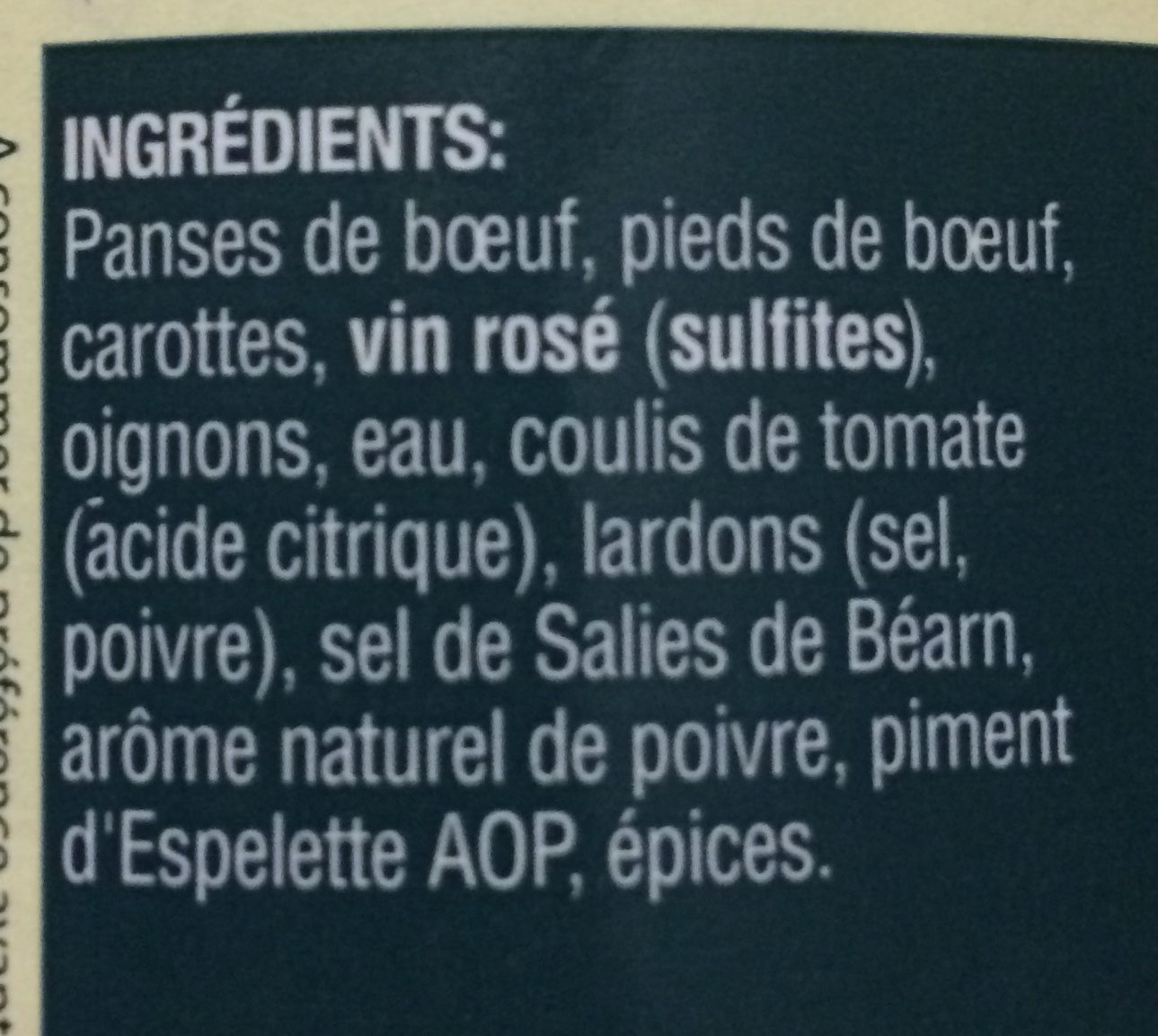 tripes bearnaise - Ingrédients - fr