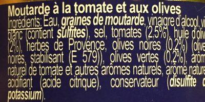 Moutarde Tomate & Olive - Ingrédients - fr