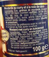 Moutarde Curry & Noix De Coco - Ingredients