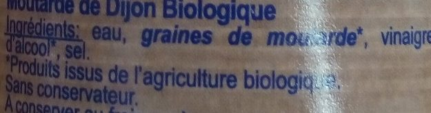 Moutarde de Dijon Bio - Inhaltsstoffe - fr