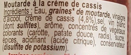 Moutarde à la crème de cassis - Ingredients