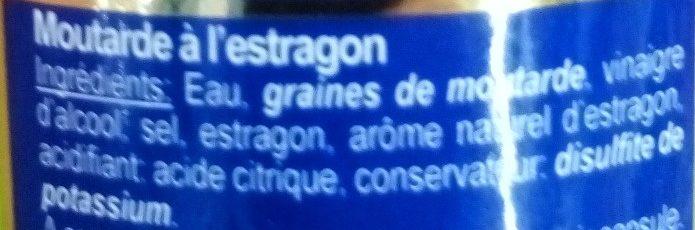 Moutarde Estragon - Ingrédients - fr