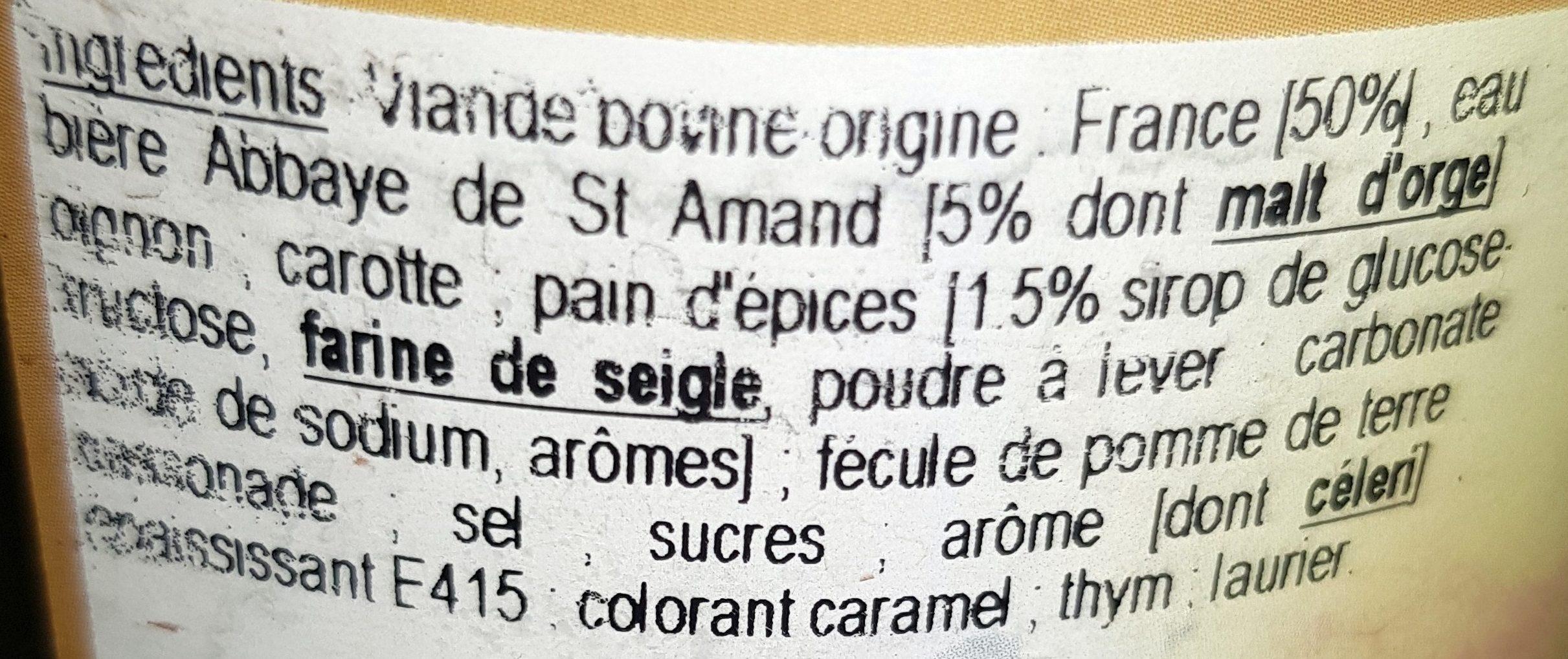 Carbonnade Flamande au Pain d'Épices et à la Bière - Ingrédients