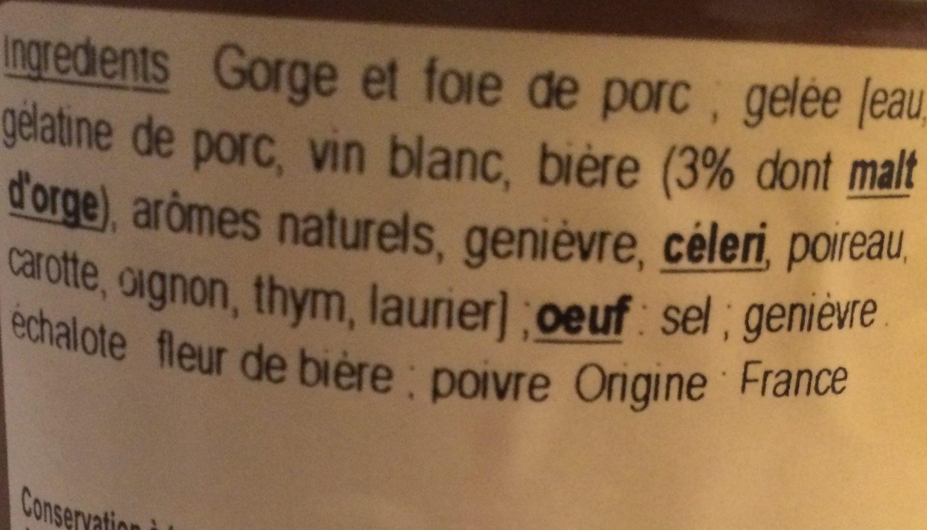 Terrine à la bière - Ingredients - fr
