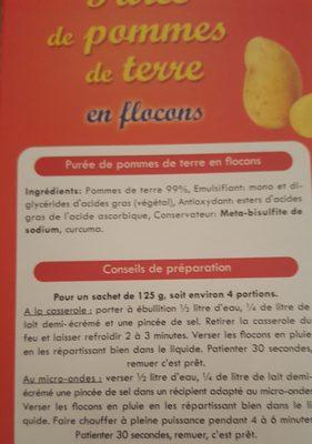 Purée de pommes de terre en flacons - Ingrediënten - fr