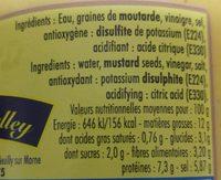 Moutarde De Dijon 370 GR SV - Informations nutritionnelles