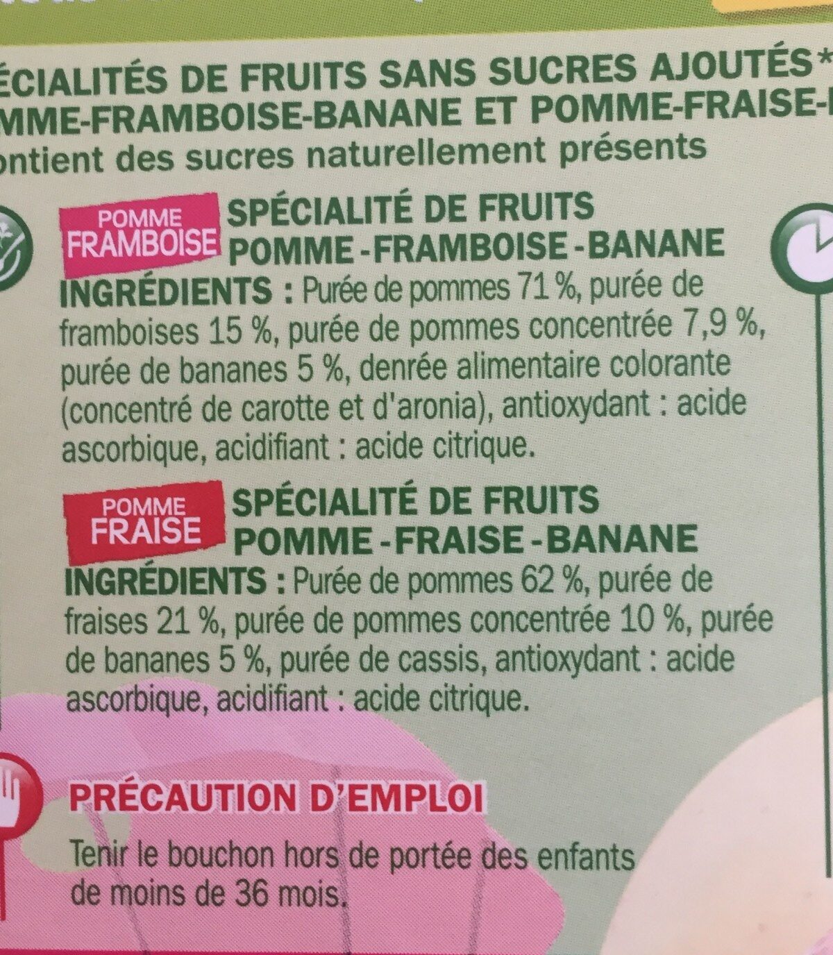 Compote fraise/framboise - Ingredients