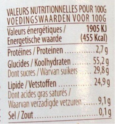 Pate a tartiner aux biscuits de speculoos - Voedingswaarden - fr