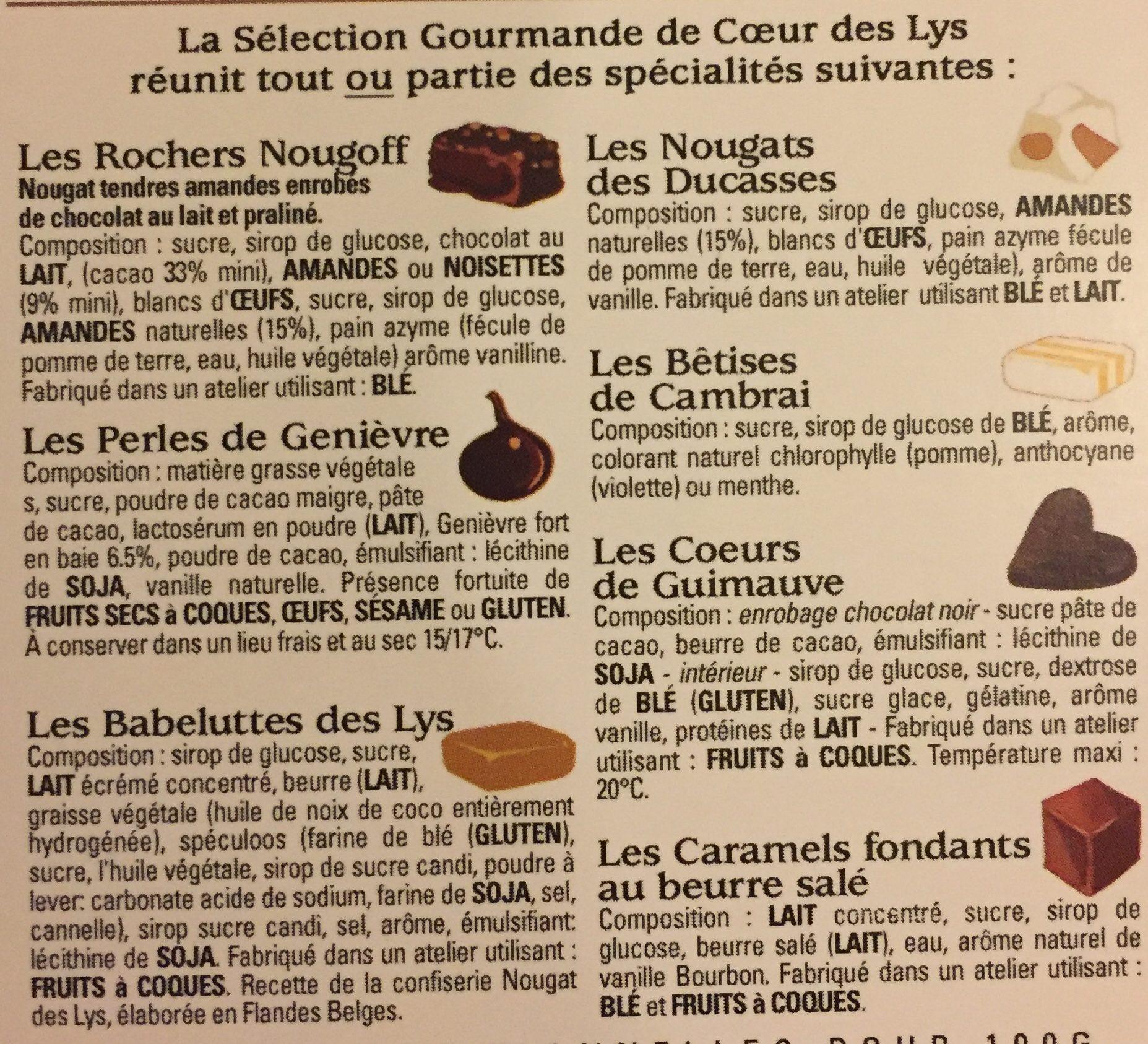 Assortiment des meilleures spécialités du Nord Coeur de guimauve, bêtises de Cambrai, nougat et babeluttes de Lys. - Ingredients