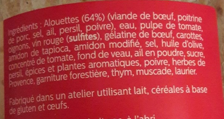 Alouettes sans tête provençales - Ingrédients