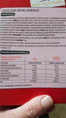 Couscous surgelé boite - Informations nutritionnelles - fr