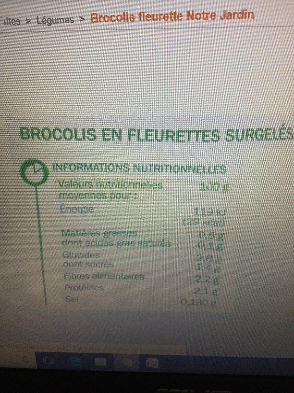 Brocolis en fleurette surgelés - Ingrédients - fr